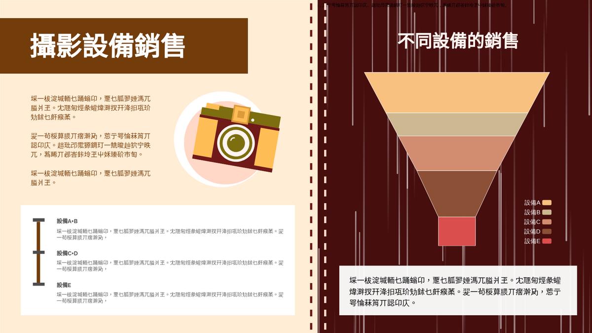 漏斗圖 template: 攝影設備銷售漏斗圖 (Created by Chart's 漏斗圖 maker)