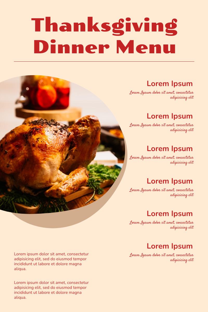 Menu template: Thanksgiving Dinner Menu (Created by InfoART's Menu maker)