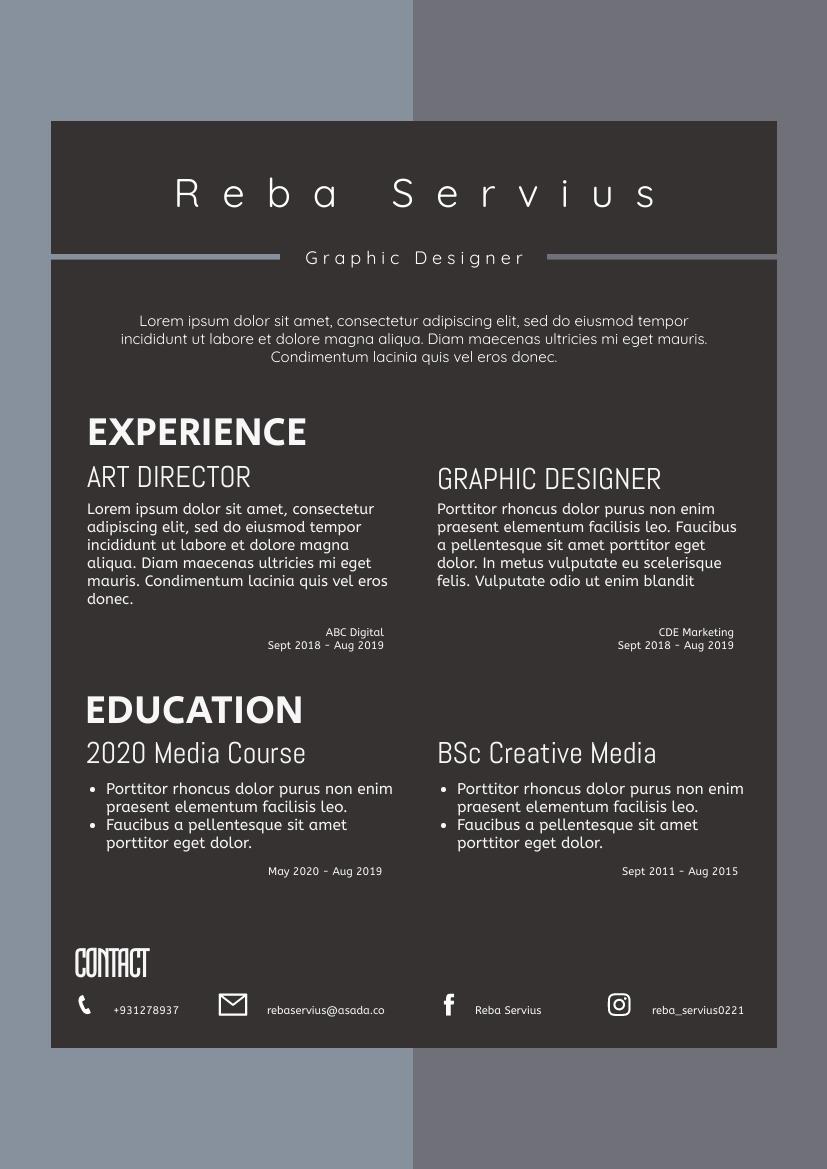 Resume template: Grey Resume (Created by InfoART's Resume maker)