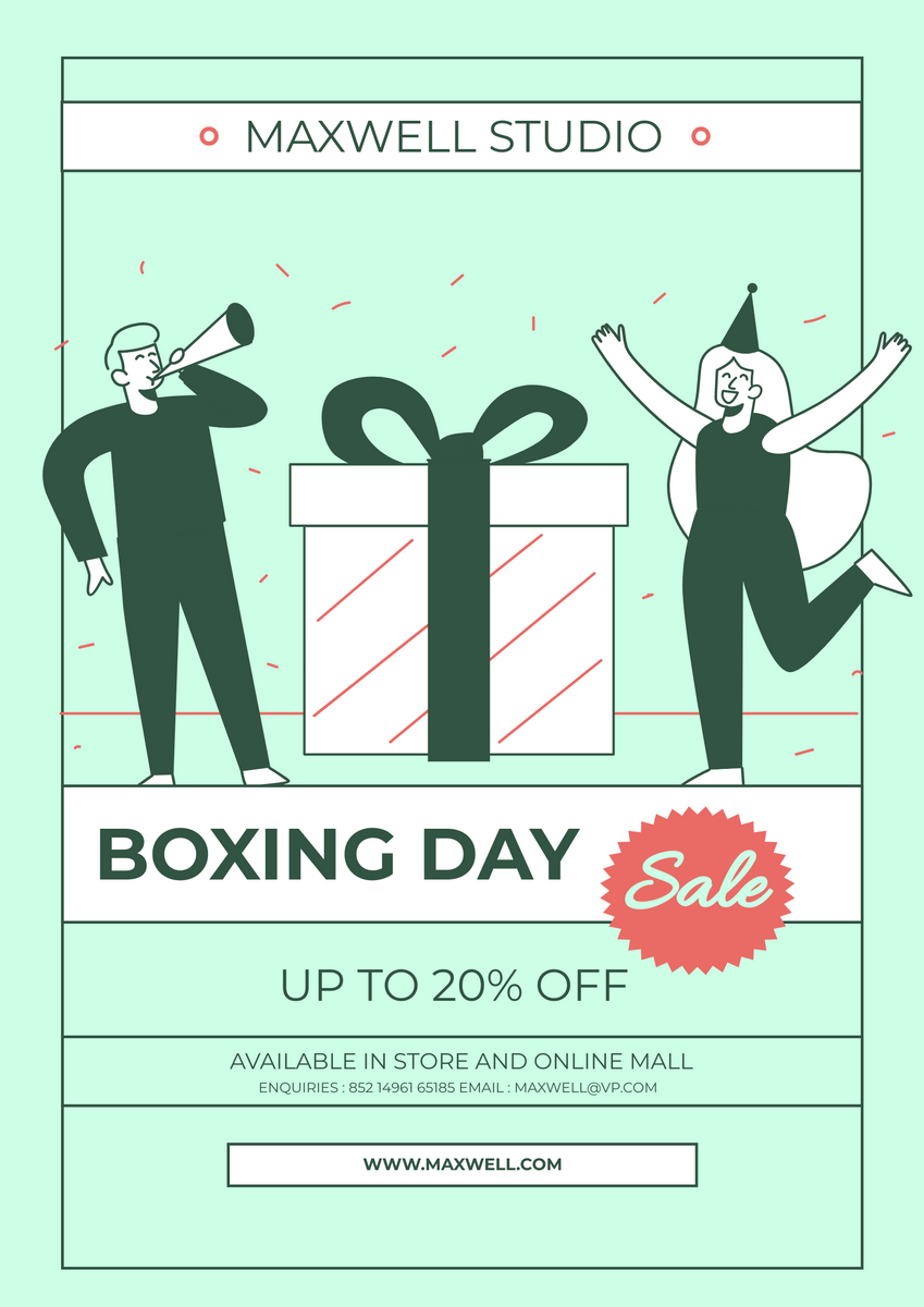 Poster template: Green Boxing Day Sale Flyer (Created by InfoART's Poster maker)