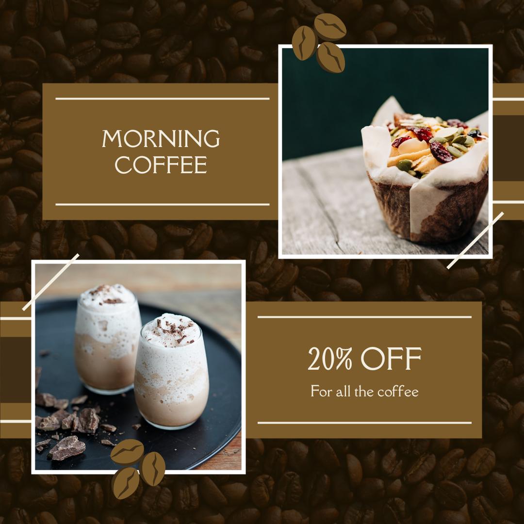 Instagram Post template: Coffee Shop Drinks Discount Instagram Post (Created by InfoART's Instagram Post maker)