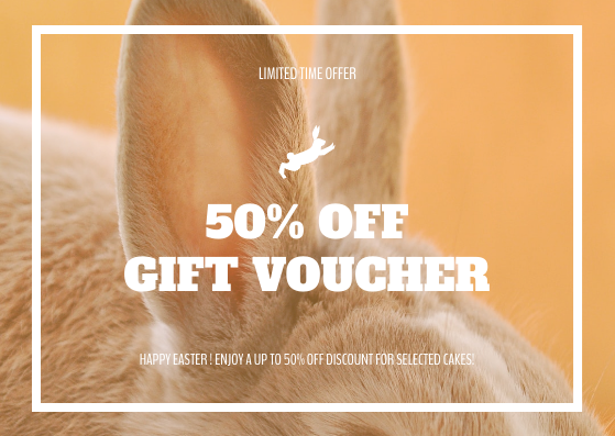 Gift Card template: Orange Easter Rabbit Photo Sale Gift Card (Created by InfoART's Gift Card maker)