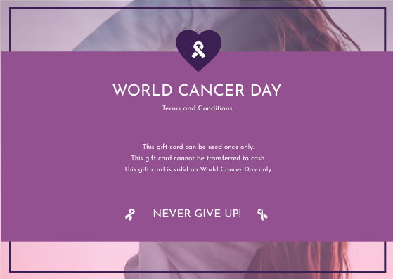Gift Card template: Purple Gradient World Cancer Day Gift Card (Created by InfoART's Gift Card maker)