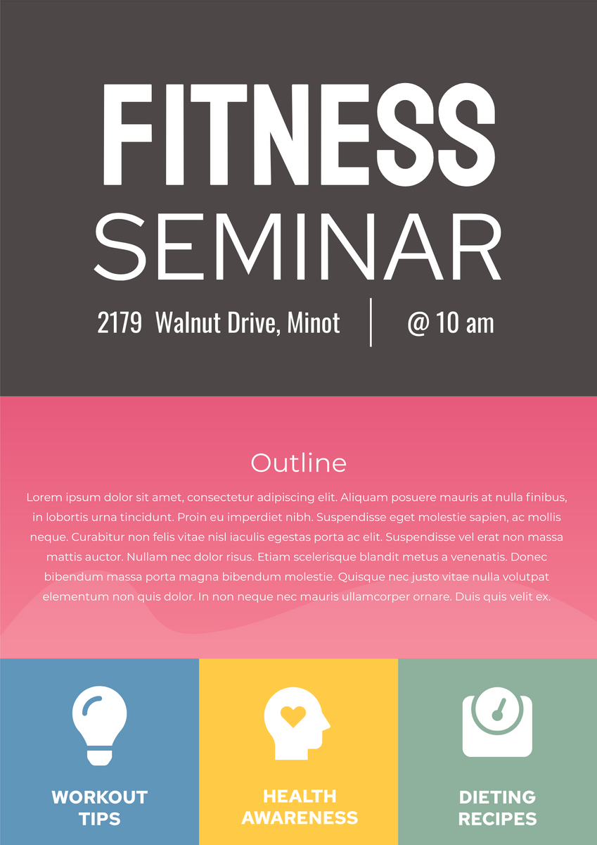 Poster template: Fitness Seminar Poster (Created by InfoART's Poster maker)
