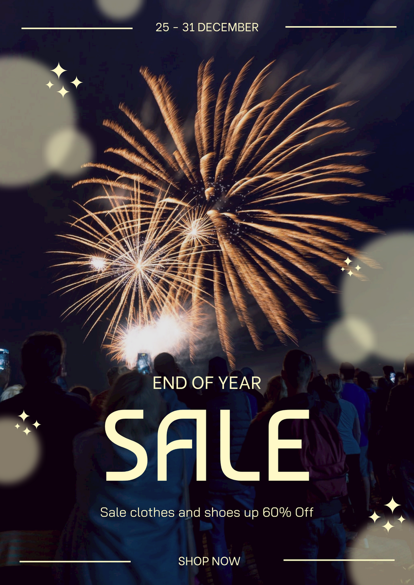 Poster template: Blue New Year Firework Photo Sale Poster (Created by InfoART's Poster maker)