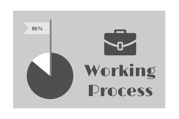 Progress template: Monochrome Working Process (Created by InfoChart's Progress maker)