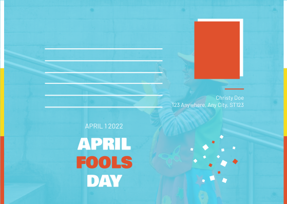 Postcard template: Blue And Red Clown Photo April Fools Day Postcard (Created by InfoART's Postcard maker)