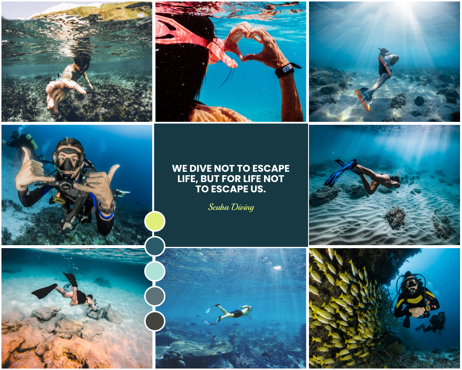 Mood Board template: Scuba Diving Mood Board (Created by Collage's Mood Board maker)