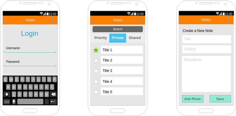 Note Writer App (Android Wireframe Example)