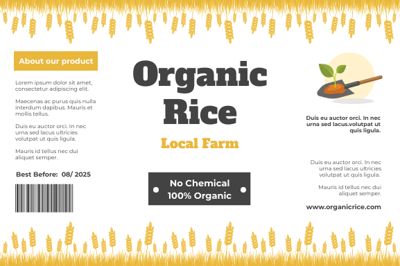Label template: Organic Rice Label (Created by InfoART's Label maker)