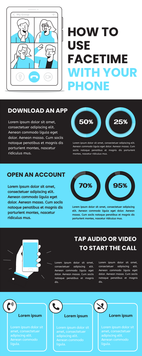 Infographic template: Use Facetime With Phone Infographic (Created by InfoART's Infographic maker)