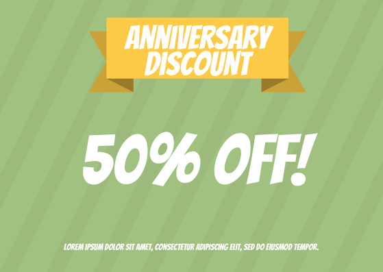 Gift Card template: Anniversary Discount Gift Card (Created by InfoART's Gift Card marker)