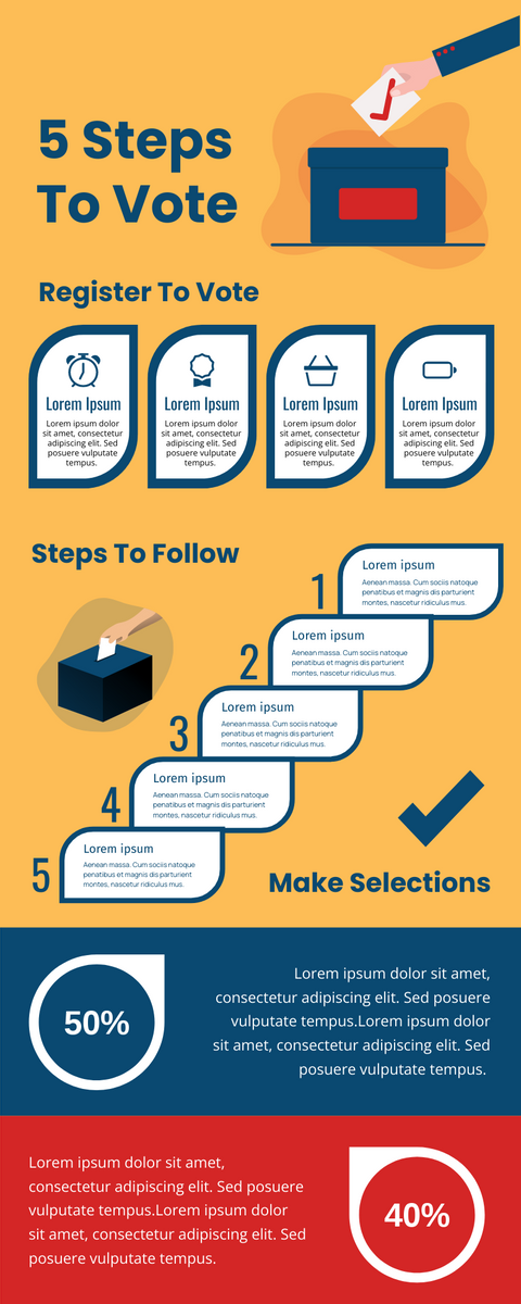Infographic template: 5 Steps To Vote Infographic (Created by InfoART's Infographic maker)