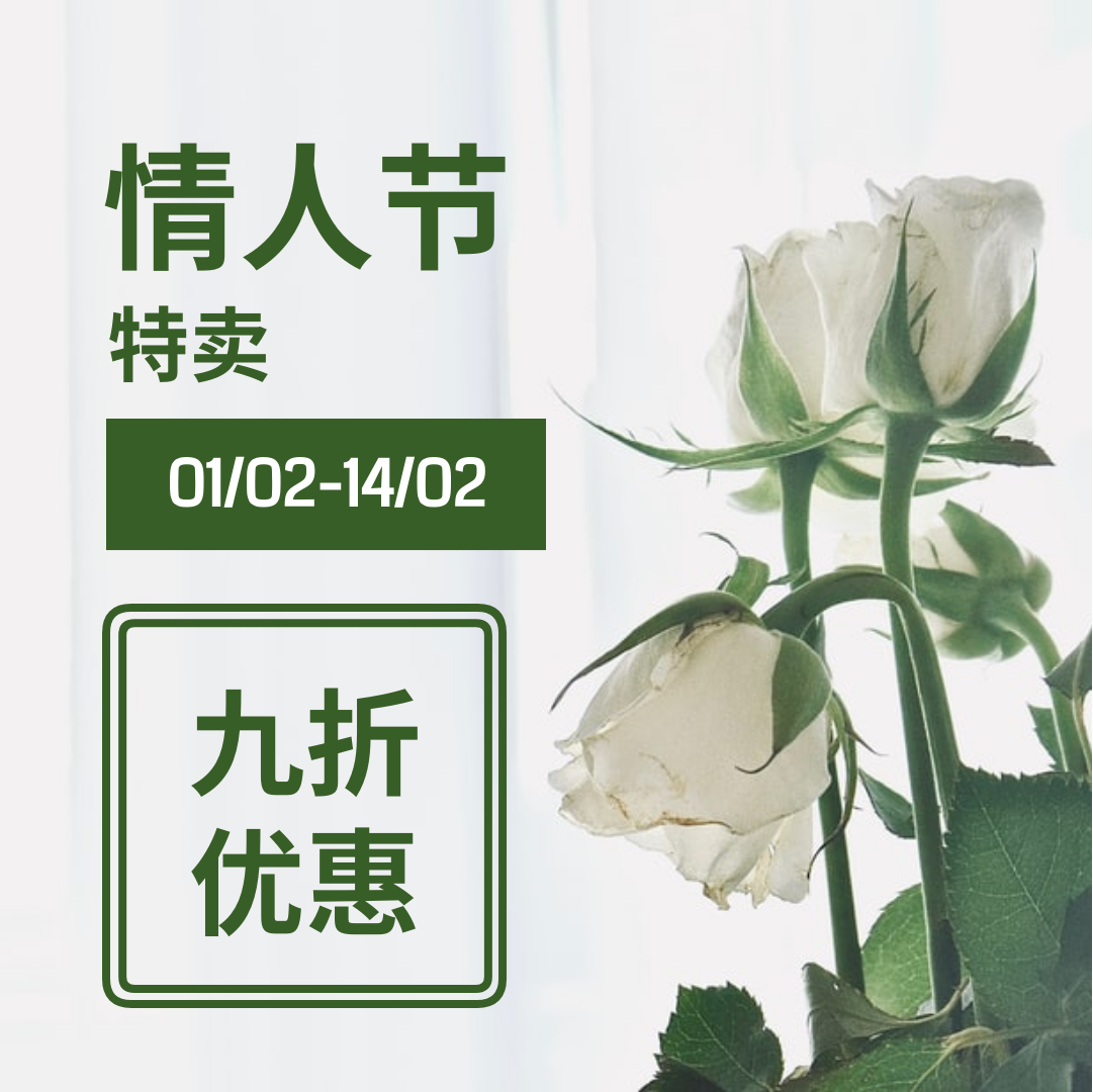Instagram 帖子 template: 白绿二色情人节特卖Instgram帖子 (Created by InfoART's Instagram 帖子 maker)