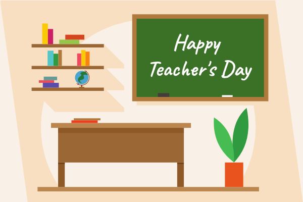 Greeting Card template: Happy Teacher's Day Scene Greeting Card (Created by InfoART's Greeting Card maker)