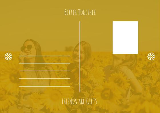 Postcard template: Yellow Daisy Flower Friendship Forever Postcard (Created by InfoART's Postcard maker)