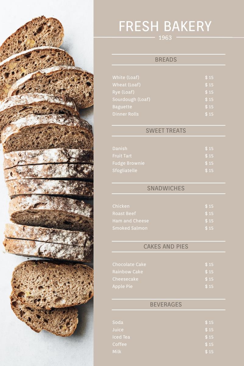 Menu template: Bakery Menu (Created by InfoART's Menu maker)