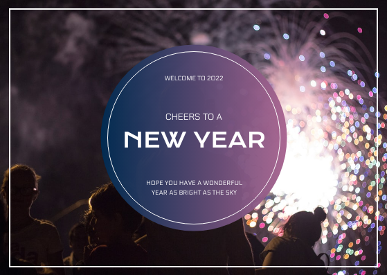 Postcard template: Purple Sky With Fireworks Background New Year Postcard (Created by InfoART's Postcard maker)