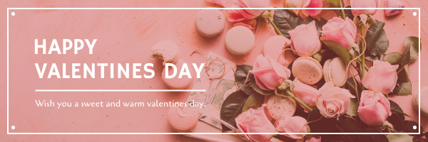 Email Header template: Pink Floral Photo Valentines Day Email Header (Created by InfoART's Email Header maker)