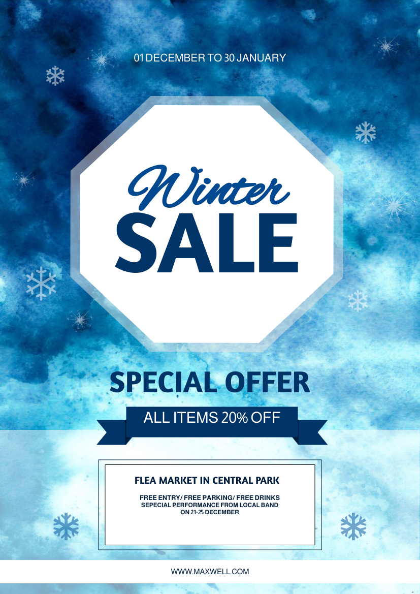 Flyer template: Watercolor Winter Sale Flyer (Created by InfoART's Flyer maker)