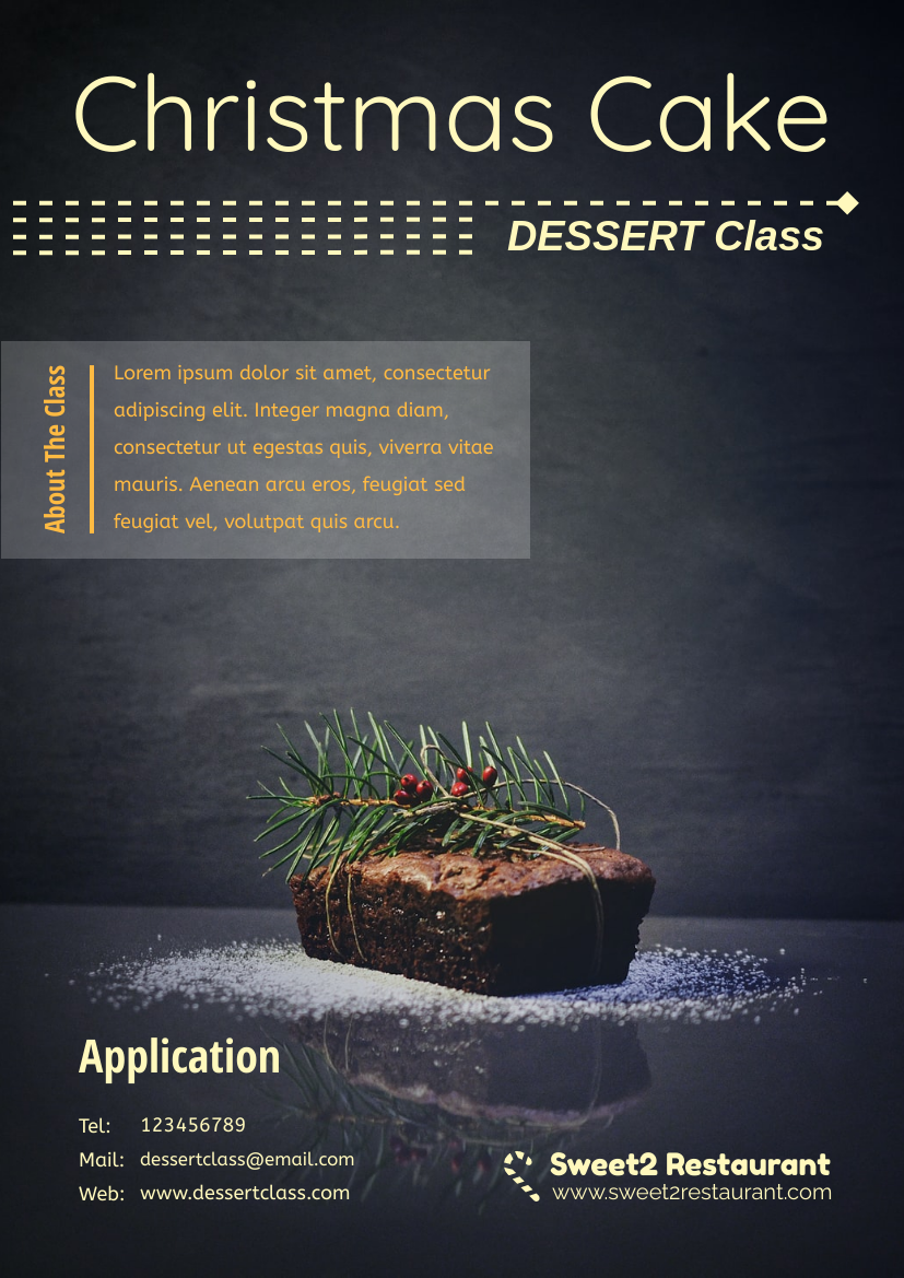 Flyer template: Christmas Cake Dessert Class Flyer (Created by InfoART's Flyer maker)