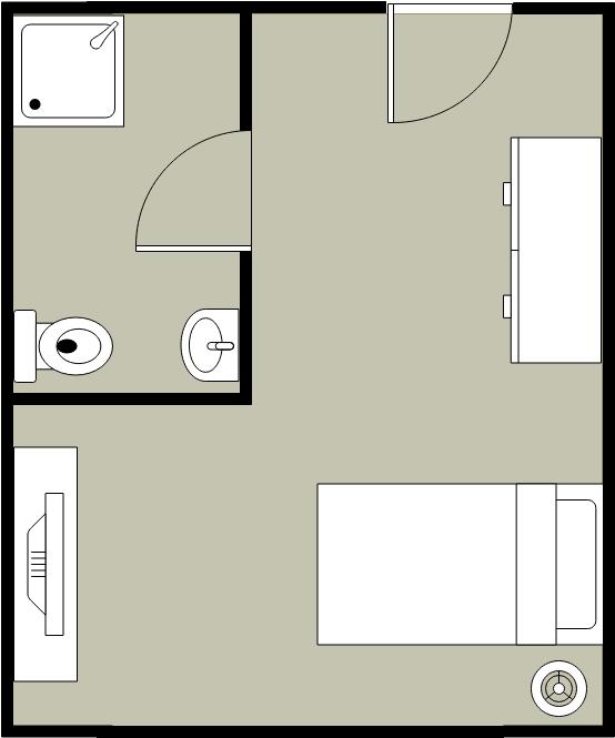 Bedroom Floor Plan template: Single Bedroom Layout (Created by Diagrams's Bedroom Floor Plan maker)