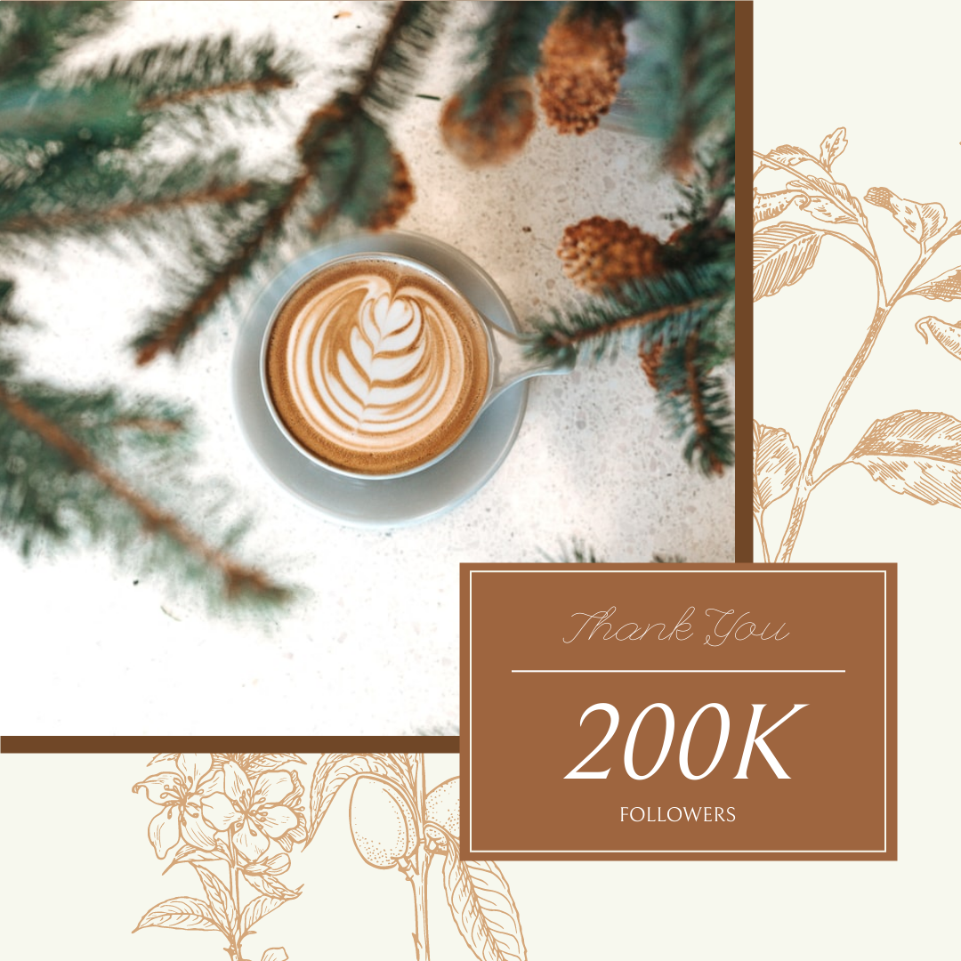 Instagram Post template: Brown Floral And Coffee Followers Instagram Post (Created by InfoART's Instagram Post maker)