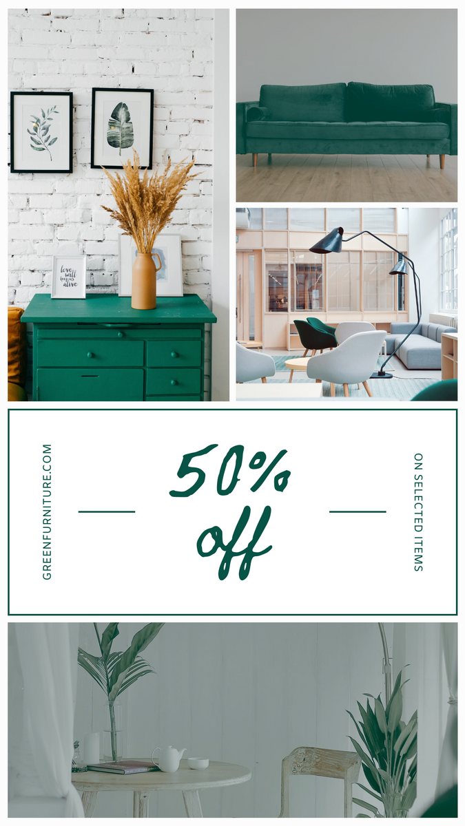 Instagram Story template: Green Home Photo Furniture Sale Instagram Story (Created by InfoART's Instagram Story maker)