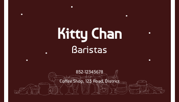 Business Card template: Coffee Shop Business Cards (Created by InfoART's Business Card maker)