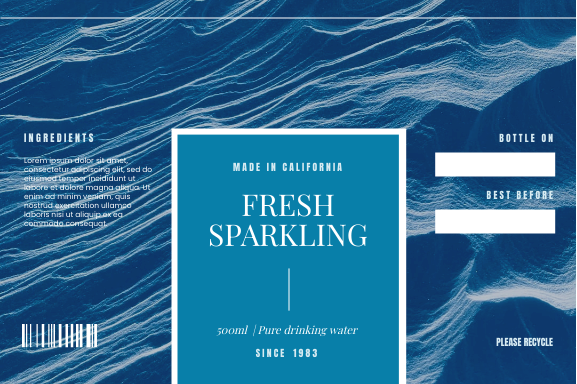 Label template: Fresh Sparkling Water Label (Created by InfoART's Label maker)