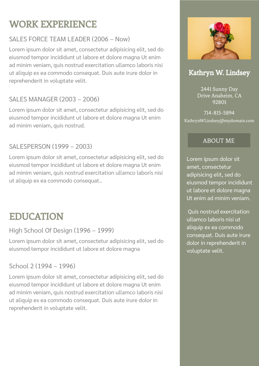 Resume template: Olive Color Resume (Created by InfoART's Resume maker)