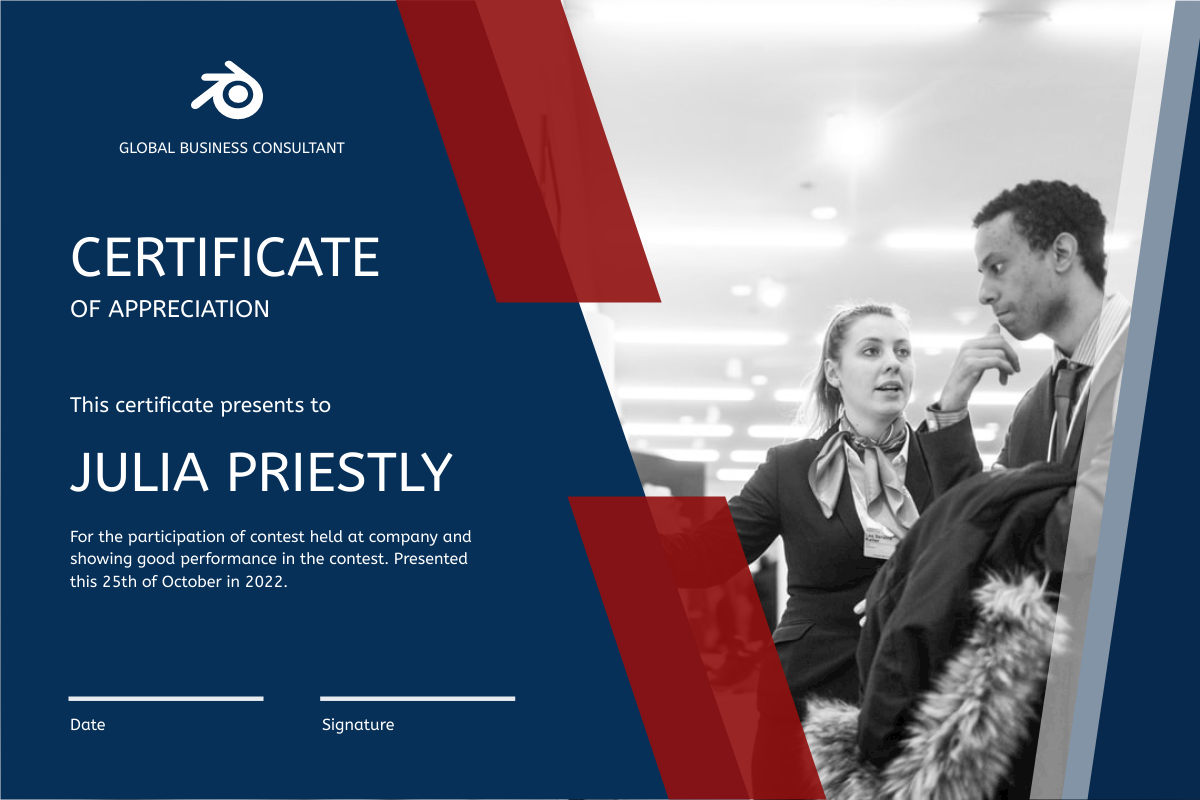Certificate template: Blue And Red Frame With Photo Certificate (Created by InfoART's Certificate maker)