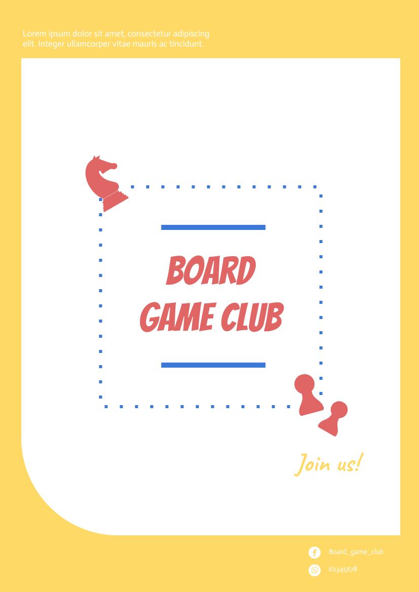 Flyer template: Board Game Club Flyer (Created by InfoART's Flyer maker)