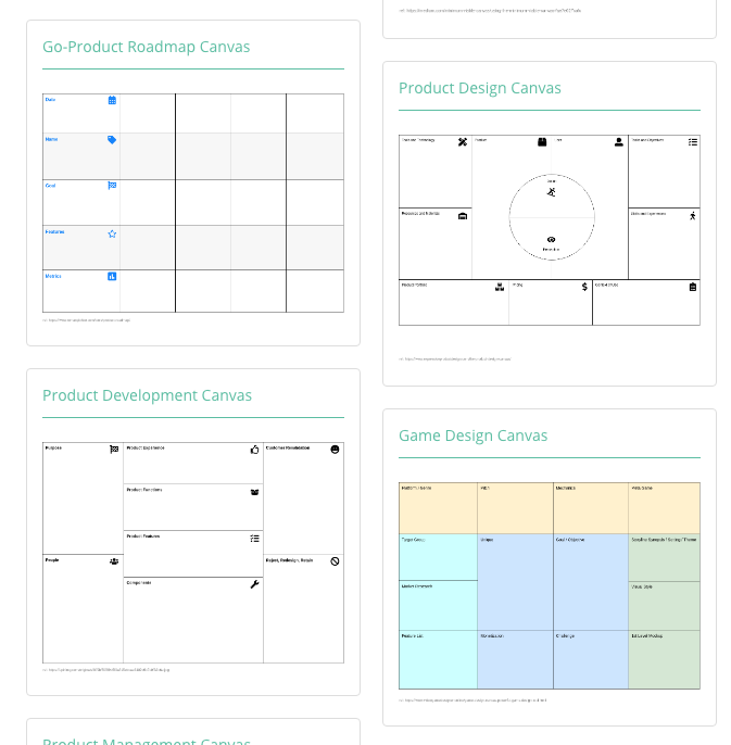 business model canvas example page