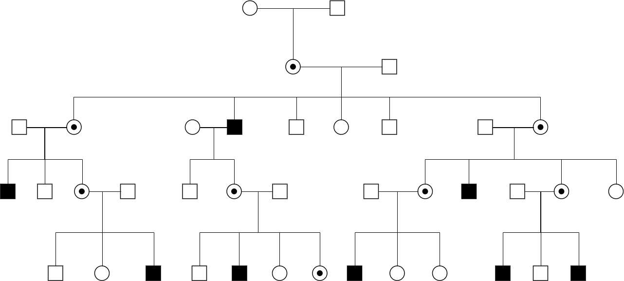 Linked recessive pedigree chart example